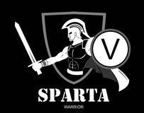 Trojan eller spartansk krigareinnehavsköld och svärd över shien vektor illustrationer