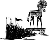 Trojan Horse Army. Woodcut style expressionist image of the Greek Trojan Horse with an army walking from it Royalty Free Stock Photos
