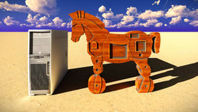 Trojan horse and computer 3d illustration Stock Images