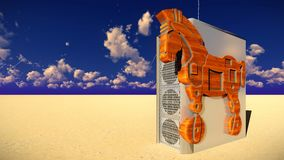 Trojan horse and computer 3d illustration Royalty Free Stock Images