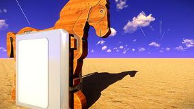 Trojan horse and computer 3d illustration Stock Photo