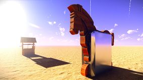 Trojan horse and computer 3d illustration Royalty Free Stock Photos