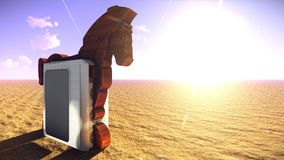 Trojan horse and computer 3d illustration Royalty Free Stock Image