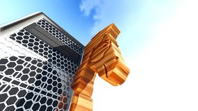 Trojan horse and computer 3d rendering Royalty Free Stock Images