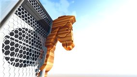 Trojan horse and computer 3d rendering Royalty Free Stock Photo
