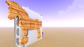 Trojan horse and computer 3d rendering Stock Photography