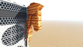 Trojan horse and computer 3d rendering Royalty Free Stock Photography