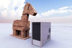 Trojan horse and computer Stock Photos