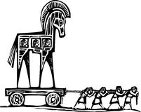 Trojan Horse Dragged. Woodcut style expressionist image of the Greek Trojan Horse being dragged into Troy Royalty Free Stock Photo