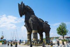 Trojan Horse en bois de film Troie Il a été donné à la ville de Canakkale photos libres de droits