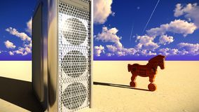 Trojan Horse et illustration de l'ordinateur 3d Photos stock