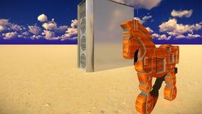 Trojan Horse et illustration de l'ordinateur 3d Image libre de droits