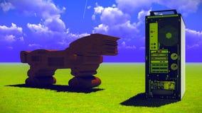 Trojan Horse et ordinateur Image stock