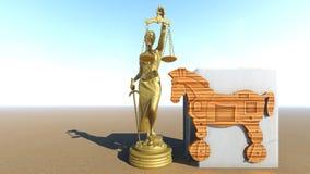 Trojan Horse et ordinateur Conception de loi rendu 3d Images libres de droits