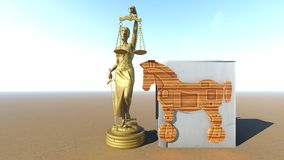 Trojan Horse et ordinateur Conception de loi rendu 3d Image libre de droits