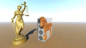 Trojan Horse et ordinateur Conception de loi rendu 3d Photos libres de droits
