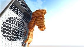 Trojan Horse et rendu de l'ordinateur 3d Photo libre de droits