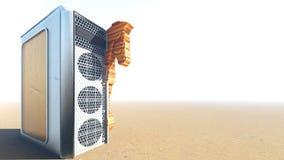 Trojan Horse et rendu de l'ordinateur 3d Photo stock