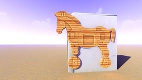 Trojan Horse et rendu de l'ordinateur 3d Photographie stock libre de droits