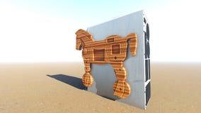 Trojan Horse et rendu de l'ordinateur 3d Photos stock