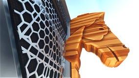 Trojan Horse et rendu de l'ordinateur 3d Image stock