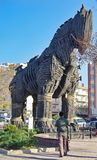 Landmark attraction Trojan Horse in troy ancient port city Canakkale, Turkey Royalty Free Stock Photos