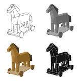 Trojan horse icon in cartoon style isolated on white background. Hackers and hacking symbol stock vector illustration. Royalty Free Stock Images