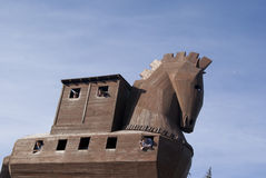 Trojan horse partly. Part of the trojan horse with people in the windows Royalty Free Stock Image