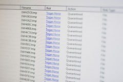 Trojan Horse on PC. A virusscan shows an infection with many trojan horses Stock Photos