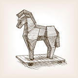 Trojan horse sketch style vector illustration Royalty Free Stock Photos