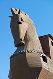 Trojan Horse at Troy Archeology Site in Turkey. Wooden Trojan horse on display by the ancient city of Troy near Gallipoli, Turkey. Nearby are the actual ancient Royalty Free Stock Photos
