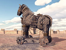 Trojan Horse at Troy. Computer generated 3D illustration with the Trojan Horse at Troy Stock Image