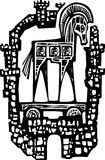 Trojan Horse in Walls. Woodcut style expressionist image of the Greek Trojan Horse inside the walls of the city of Troy Royalty Free Stock Photo