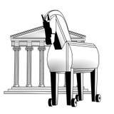 Trojan Horse y acrópolis Foto de archivo