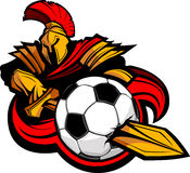 Trojan Mascot Body with Sword Stabbing Soccer Ball Royalty Free Stock Image