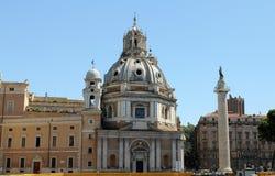 Trojan's Column and Church. Of Santa Maria di Loretto in Rome, Italy Royalty Free Stock Photo