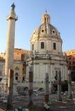 Trojan's Column and Church. Of Santa Maria di Loretto in Rome, Italy Stock Photos