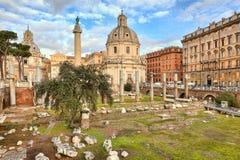 Trojan's column and Santa Maria di Loreto church. Royalty Free Stock Photo