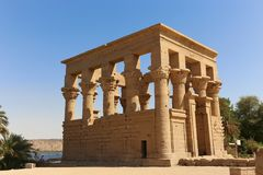 Trojan`s kiosk at temple of Isis Philae - Aswan, Egypt. The Temple of Isis. Philae in Aswan, Egypt. 18 September 2017 royalty free stock photo