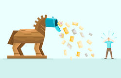 Trojan Spam Mail Allegory Flat Illustration Stock Photos