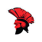 Trojan Spartan Warrior with Helmet in red color, Flat Vector Illustration Royalty Free Stock Photo