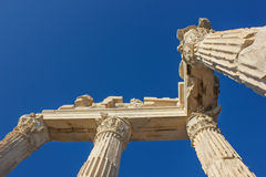 Trojan temple columns 1. Ruins of the ancient temple of Trajan in Bergama Acropolis, Turkey Stock Images