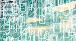 Trojan virus and binary code, cyberwarfare background Royalty Free Stock Images