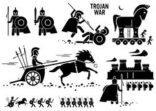 Trojan War Horse Greek Rome Warrior Troy Sparta Spartan Clipart. Set of human pictogram representing the Trojan war historical event. The Trojan warriors use Stock Image