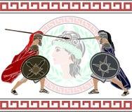 Trojanen kriger stock illustrationer