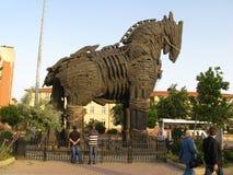 Trojanska hästen i Troy (Truva) Turkiet royaltyfri fotografi