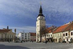 Trojicne namestie square at Trnava. During spring, Slovakia Royalty Free Stock Photo
