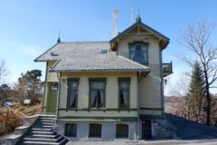 Edvard Grieg`s house. Troldhaugen is the former home of Norwegian composer Edvard Grieg and his wife Nina Grieg. Troldhaugen is located in Bergen, Norway and stock photography