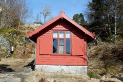 Edvard Grieg`s composer cabin. Troldhaugen is the former home of Norwegian composer Edvard Grieg and his wife Nina Grieg. Troldhaugen is located in Bergen Royalty Free Stock Image