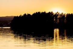 Troldhaugen solnedgång, Norge, Bergen Royaltyfria Foton